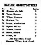 1959 Globetrotters Roster