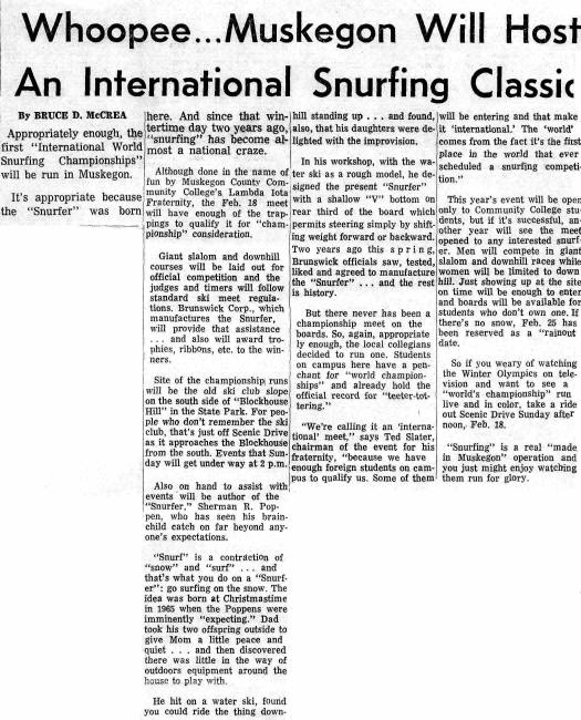 1968 Whoopee - Muskegon will host snurfing classic